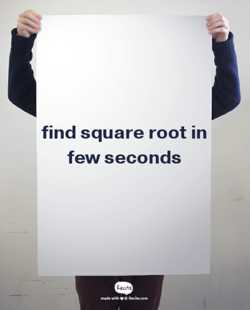 shortcut technique of square root